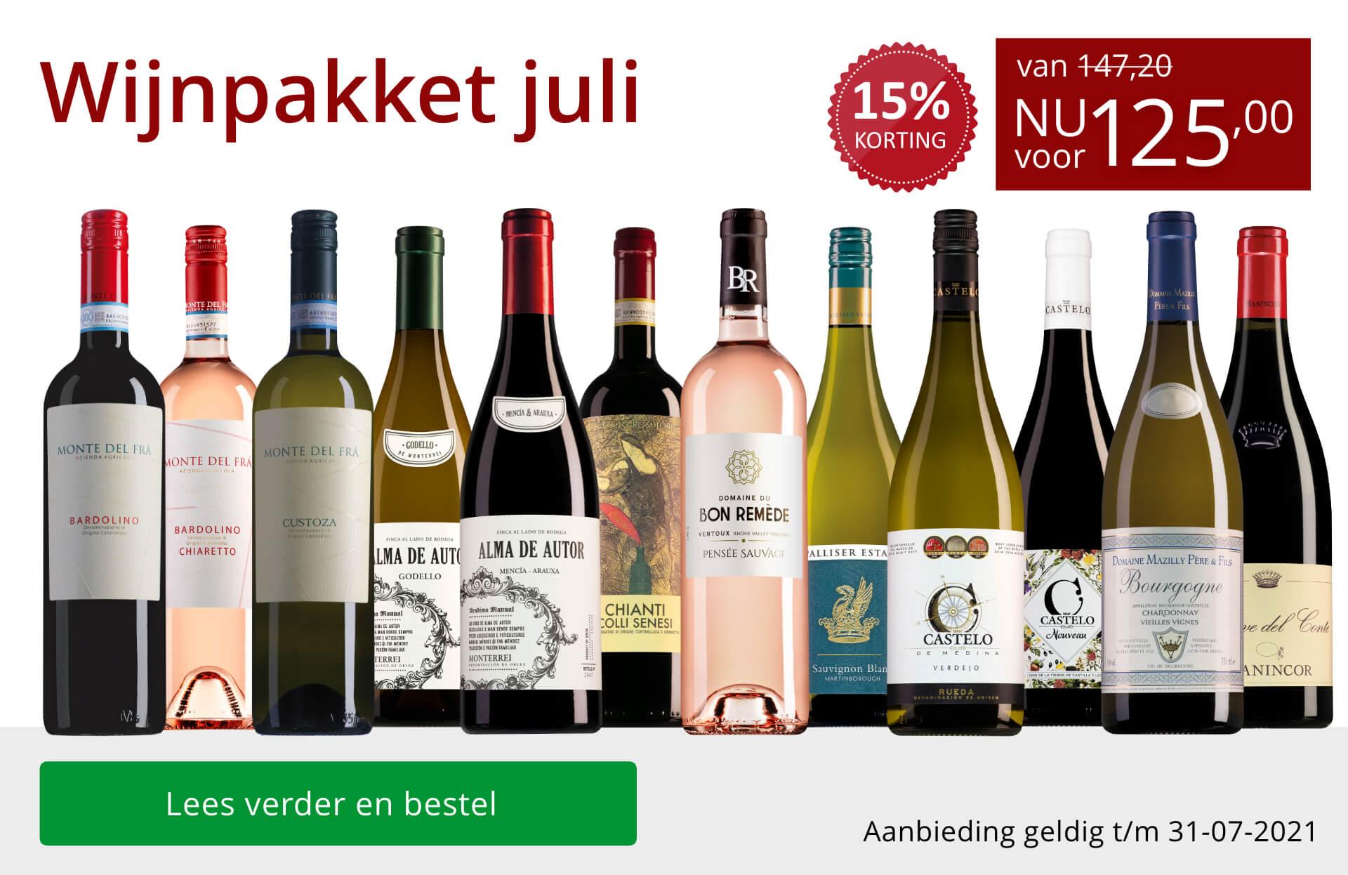 Wijnpakket wijnbericht juli 2021(125,00) - rood